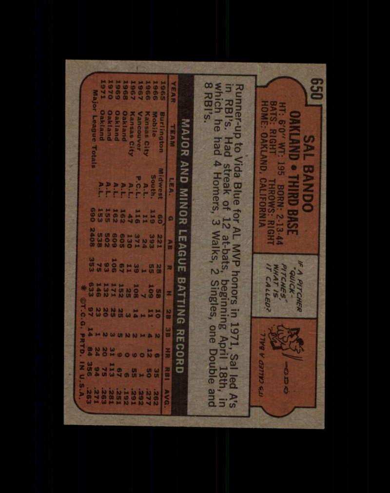 PICK FROM LIST 1972 Topps Baseball Set Break $.99 Ship CARDS #501 - #650